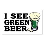 I See Green Beer St Pat's Sticker (Rectangular)