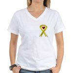 Sister Safe OEF yellow ribbon Women's V-Neck T-Shi
