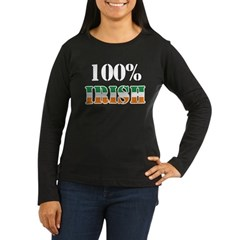 100 Percent Irish T-Shirts Women's Long Sleeve Dark T-Shirt