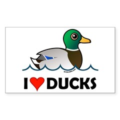 Birdorable I Love Ducks Sticker (Rectangle)