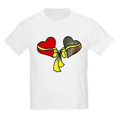 2 Hearts Military Yellow Ribbon Kids T-Shirt
