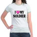 I Love (pink heart) My Soldier Jr. Ringer T-Shirt