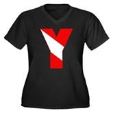 Scuba Flag Letter Y Women's Plus Size V-Neck Dark