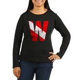 Scuba Flag Letter W Women's Long Sleeve Dark T-Shi