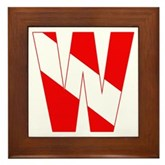 Scuba Flag Letter W Framed Tile