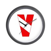 Scuba Flag Letter V Wall Clock