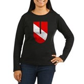 Scuba Flag Letter U Women's Long Sleeve Dark T-Shi