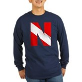 Scuba Flag Letter N Long Sleeve Dark T-Shirt