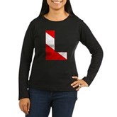 Scuba Flag Letter L Women's Long Sleeve Dark T-Shi