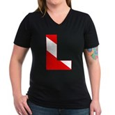 Scuba Flag Letter L Women's V-Neck Dark T-Shirt