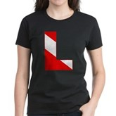 Scuba Flag Letter L Women's Dark T-Shirt