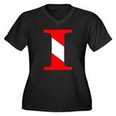 Scuba Flag Letter I Women's Plus Size V-Neck Dark