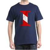 Scuba Flag Letter I Dark T-Shirt