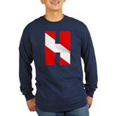 Scuba Flag Letter H Long Sleeve Dark T-Shirt
