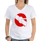 Scuba Flag Letter G Women's V-Neck T-Shirt