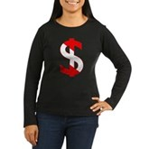 Scuba Flag Dollar Sign Women's Long Sleeve Dark T-