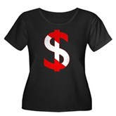 Scuba Flag Dollar Sign Women's Plus Size Scoop Nec