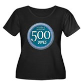 500 Dives Women's Plus Size Scoop Neck Dark T-Shir
