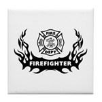 Fire Dept Tattoos Tile Coaster