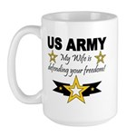 Army - My Wife is defending . Large Mug