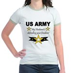 Army My husband is defending Jr. Ringer T-Shirt