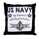 Navy Boyfriend Defending Free Throw Pillow