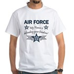 Air Force Fiance defending White T-Shirt
