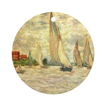 Regetta in Artgenteuil by Monet Round Ornament