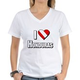 Scuba: I Love Honduras Women's V-Neck T-Shirt