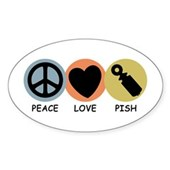  Peace Love Pish Oval Sticker