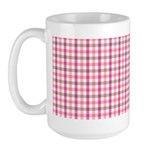 Pink Plaid Tartan Gingham Large Mug