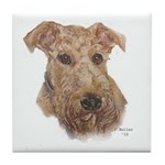 Airedale Tile Coaster (white border)