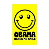Obama Makes Me Smile Rectangle Sticker
