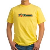 I Love Obama Yellow T-Shirt