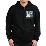 Save the Albatross (close-up) Zip Hoodie (dark)