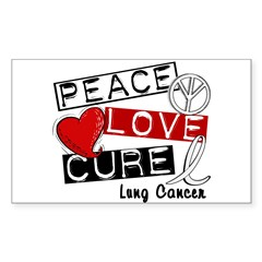 PEACE LOVE CURE Lung Cancer Sticker (Rectangle)