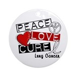 PEACE LOVE CURE Lung Cancer Ornament (Round)