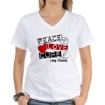 PEACE LOVE CURE Lung Cancer Women's V-Neck T-Shirt