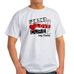 PEACE LOVE CURE Lung Cancer Light T-Shirt