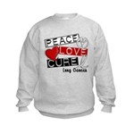 PEACE LOVE CURE Lung Cancer Kids Sweatshirt