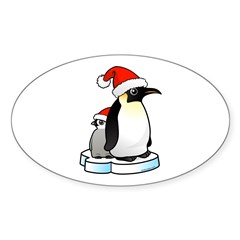 Birdorable Penguin Santa Sticker (Oval)