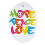 Hope Peace Love Ornament (Oval)