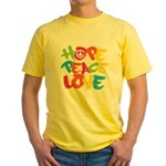 Hope Peace Love Yellow T-Shirt