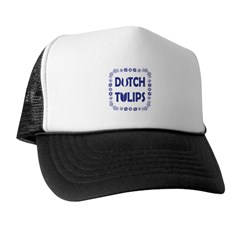 Dutch Tulips Delft Blue Style Trucker Hat