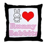 I Love Runny Babbits Throw Pillow