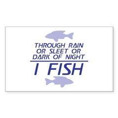 Through Rain... I Fish Sticker (Rectangle)
