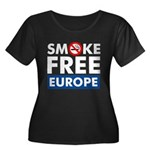 Smoke Free Europe Women's Plus Size Scoop Neck Dark T-Shirt
