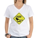 Talking Ducks Crossing Women's V-Neck T-Shirt