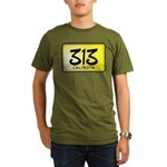 313 License Plate Organic Men's T-Shirt (dark)