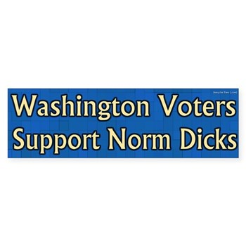 Washington voters support Norm Dicks bumper sticker for the Washington congressional campaign